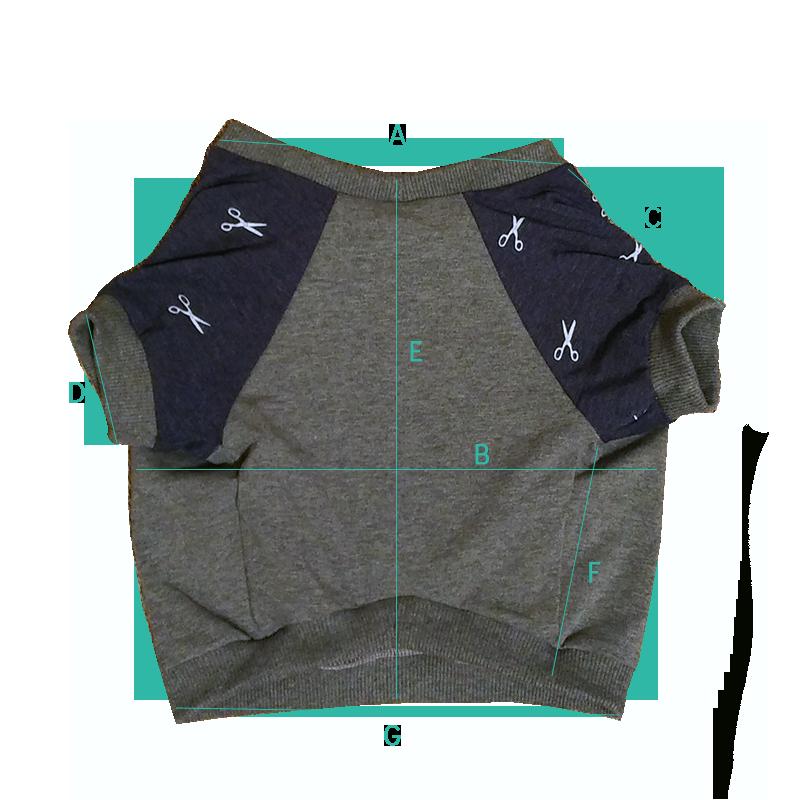 Bluza dla buldoga we wzorem nożyczki - wymiary